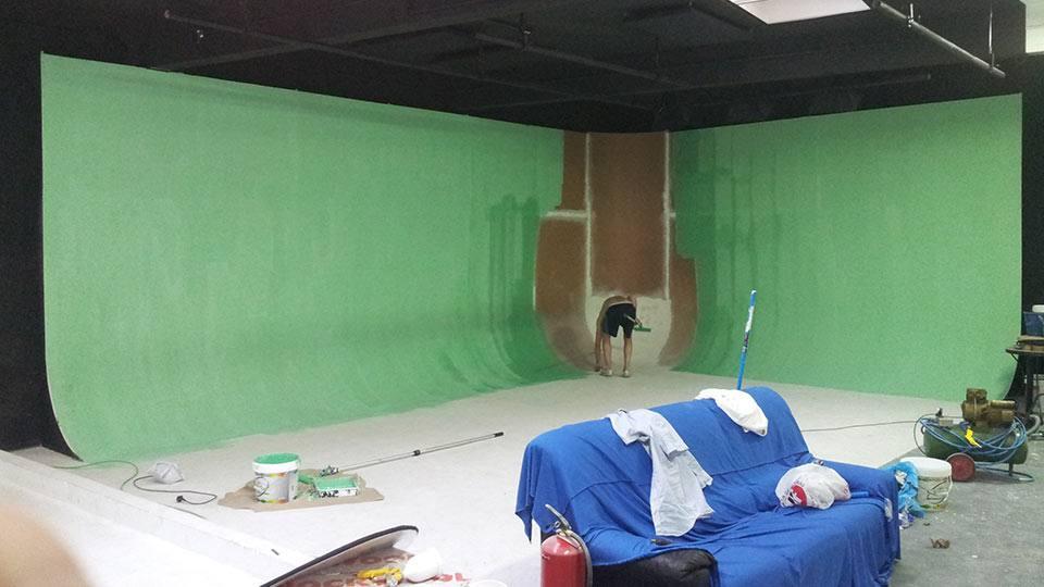 Pintando el ciclorama